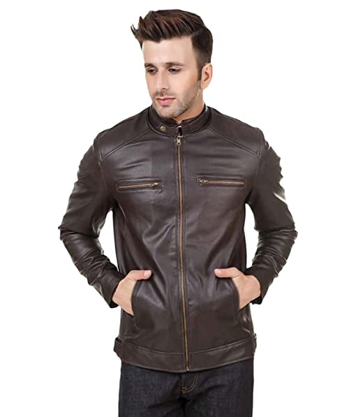 Zacharias Mens Faux Leather Jacket (Men-Leather-Jacket-Dark-Brown ...