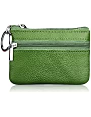 Hibate Mini Coin Purse Holder Wallet Leather Purses for Women Men Kids Zipper Pouch with Key Ring - Green