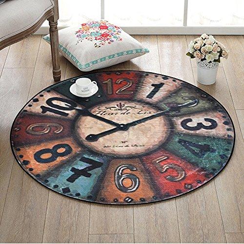 Creative Vintage Wall Clock Round Rug American Style Vintage Non-Slip Rug Bedroom Living Room Desk Computer Chair Floor Mats ( Size : 8080cm-e ()
