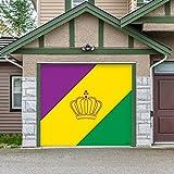 Outdoor Mardi Gras Decorations Garage Door Banner Cover Mural Décoration 8'x9' - Mardi Gras Diagonal Stripes - ''The Original Mardi Gras Supplies Holiday Garage Door Banner Decor''