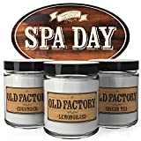 Old Factory Scented Candles - Spa Day - Set of 3: Cucumber, Lemongrass, and Green Tea - 3 x 4-Ounce Soy Candles - Perfect Valentines Day Gift for Her