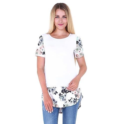 NiSeng Mujeres Casual Camiseta Dobladillo Irregular Impresión Tops Manga Corta Cuello Redondo Blusa