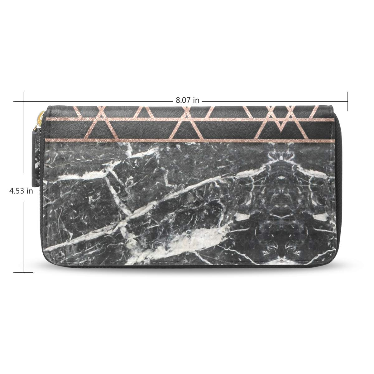 dec05f2b4649 Rose Gold Triangles Marble Travel Wallet Double Folding Long Wallet ...
