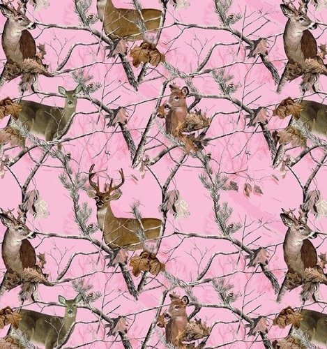 Realtree Pink Camo Deer Camoflage Hunting Fleece Fabric by the Yard