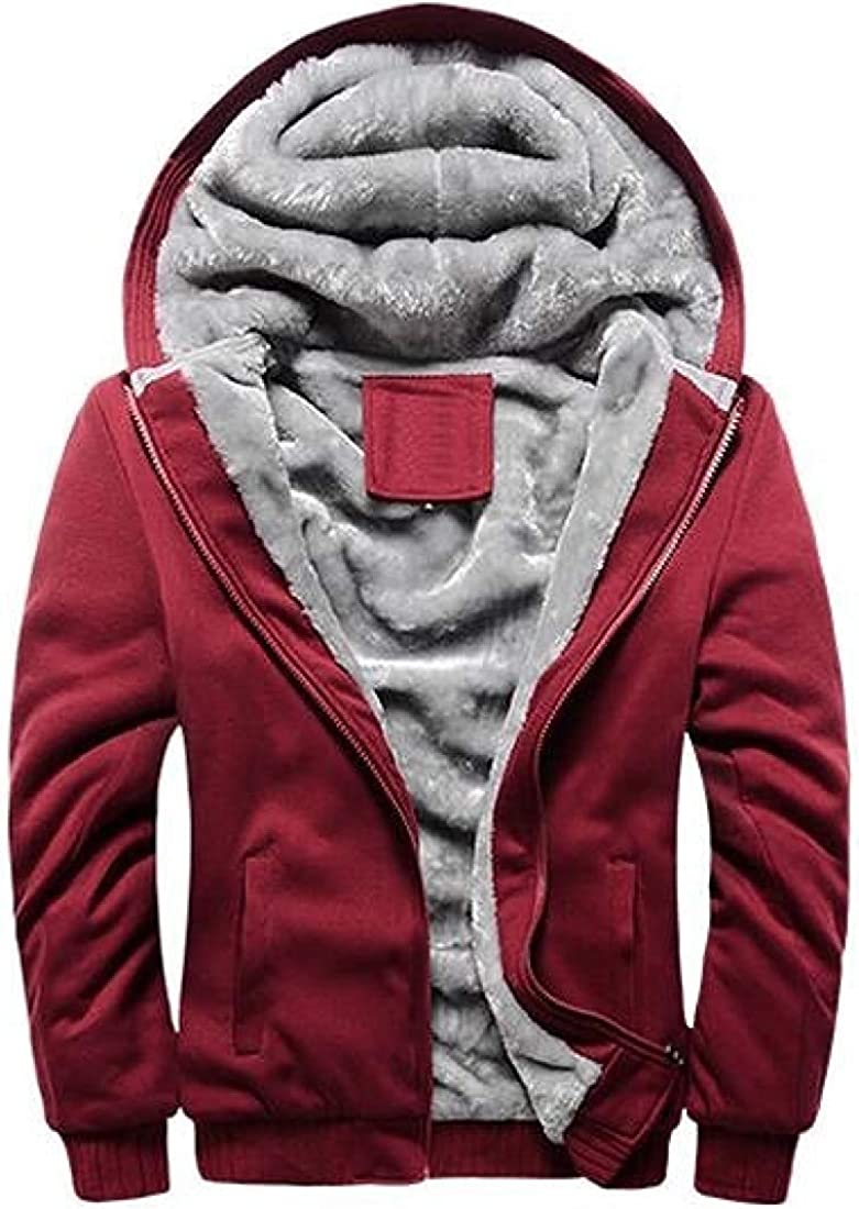 Yotoget Men Warm Solid Color Hoodie Full-Zip Jacket Winter Fleece-Lined Sweatshirt Coat