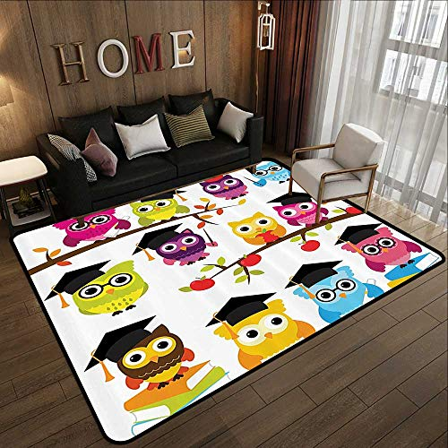 Silky Smooth Bedroom Mats,Owls Home Decor Collection,Group of Smart Owls with Books Apples Hats Degree School Graduation Image,Black Purple Magent 71