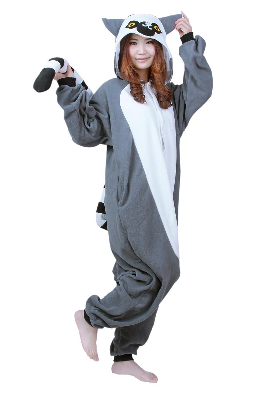 Honeystore - Pigiama per travestirsi da scimmia grigia, unisex, monopezzo, costume per cosplay grigio grigio Monkey S(Altezza  148-158 cm 58-157 cm)