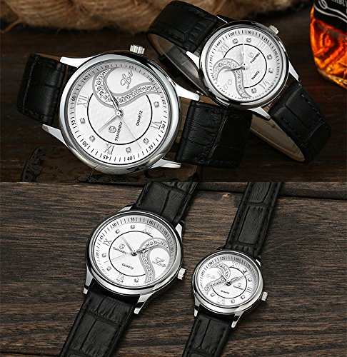Ultrathin Leather Romantic Pair His and Hers Wrist Watches Sets for Couples White Set of 2 by DREAMING Q&P (Image #1)