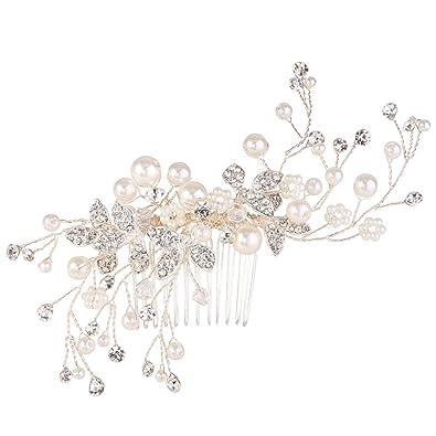 Clearine Women's Artificial Pearls Crystal Flower Handmade DIY Bridal Wedding Hair Accessories Hair Accessories. pJ9NR5E