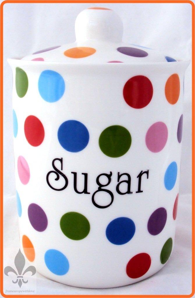 Lunares azucarero de porcelana pintada a mano de puntos tarro del azúcar en el Reino Unido entrega GRATUITA Reino Unido