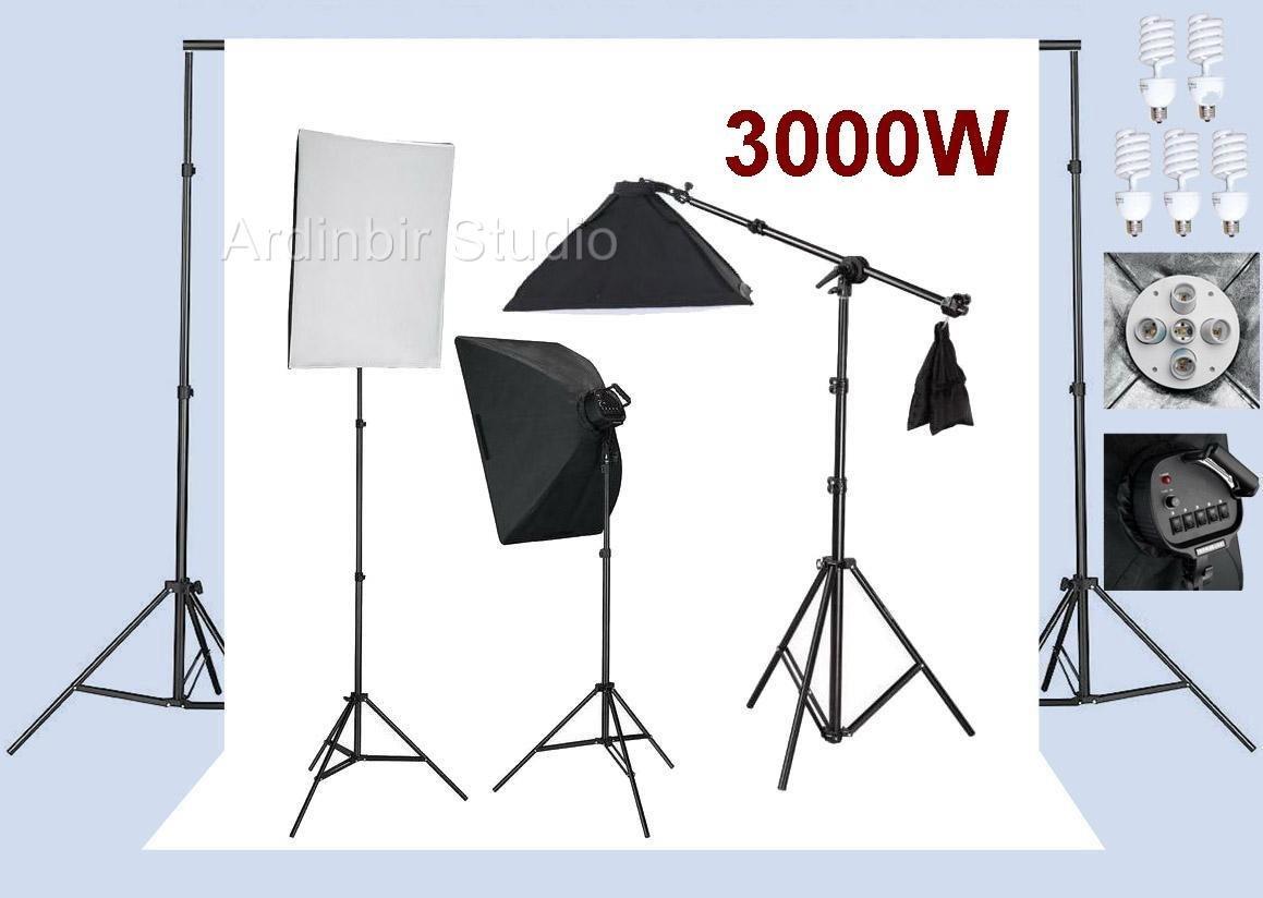 Ardinbir Studioフォト3000 W連続ライトソフトボックス照明キットと背景バックドロップブームサポートスタンドシステム   B005PPKOZQ