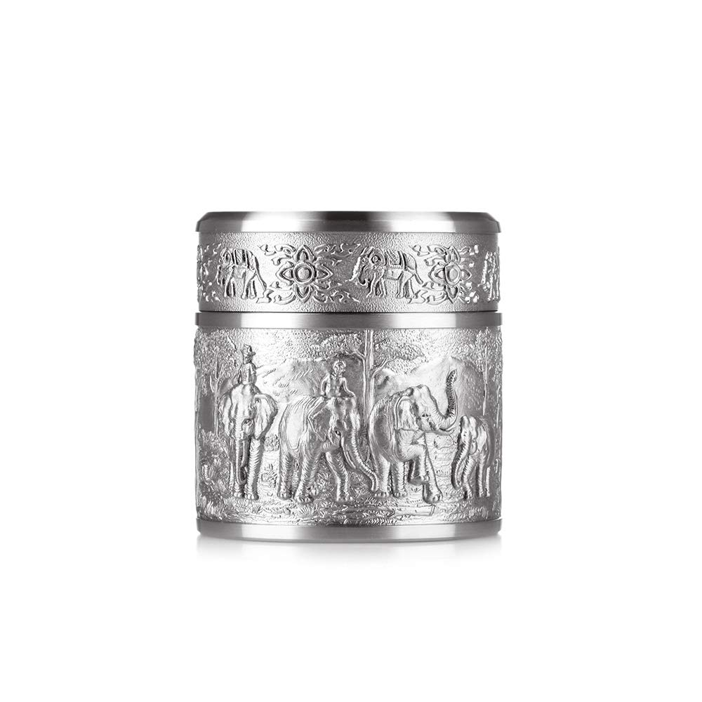 Oriental Pewter - Pewter Tea Storage, Caddy -TPCS- Hand Carved Beautiful Embossed Pure Tin 97% Lead-Free Pewter Handmade in Thailand by Oriental Pewter