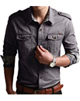 WSLCN Homme chemise de loisirs bûcheron Coton Manches longues Couleur unie