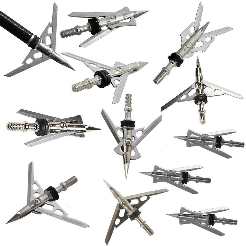 ZREALBANG Archery Broadheads Expandable Arrow Heads Tips 2 Blade 100 Grain 2+'' Cut