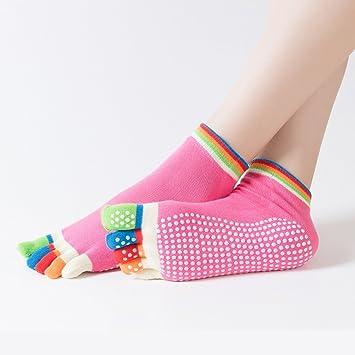 2 Paare Baumwolle Yoga Gym Zehensocken Anti-Rutsch-Fußmassage Griff Socke