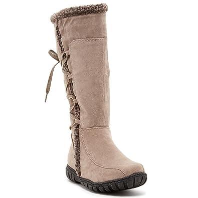 Safiyah Womens Fashion Faux Shearling Trim Boots
