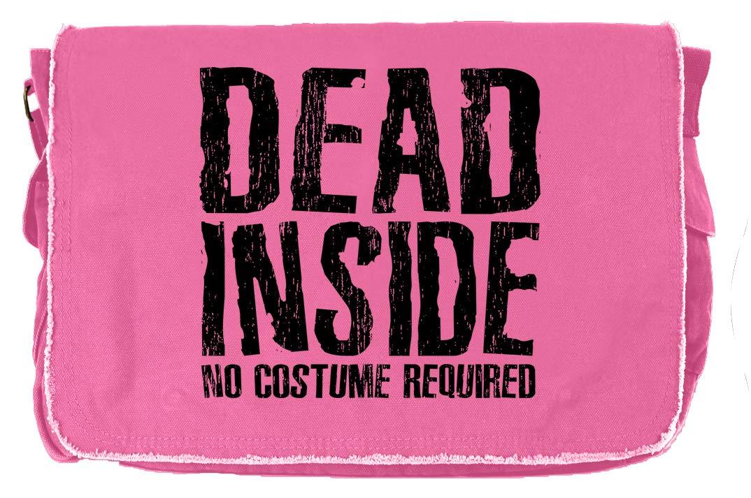 Tenacitee Dead Inside Khaki Green Raw Edge Canvas Messenger Bag
