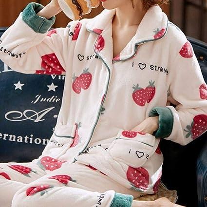 Pijama Para Mujer,Moda Outono Inverno Quente Flanela Feminino ...
