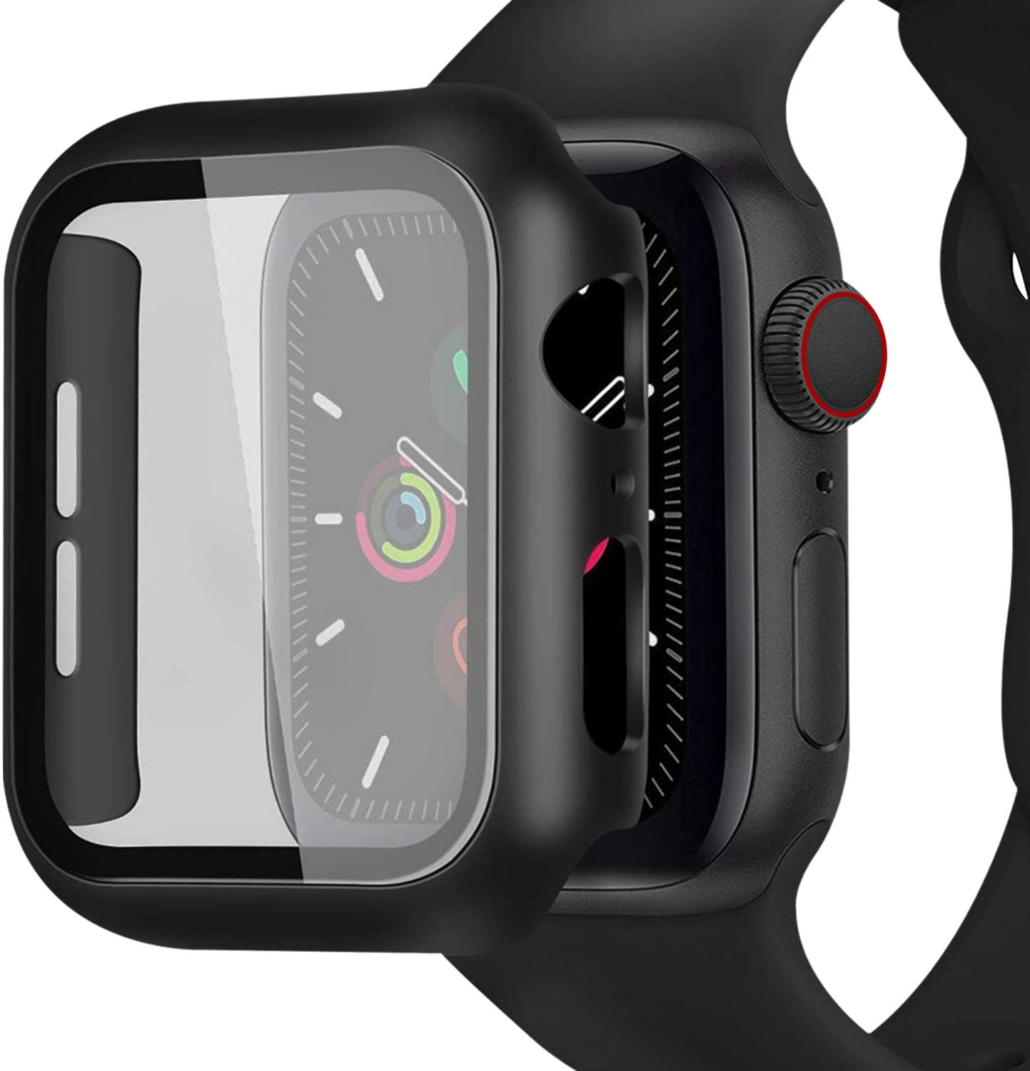 [2 Pack] Case for Apple Watch 40mm Series 6/5/4/SE Built in Tempered Glass Screen Protector, Miesherk STOCK Hard PC Bumper Full Coverage Shockproof Cover HD Clear Protective Film for iWatch 40mm-Black