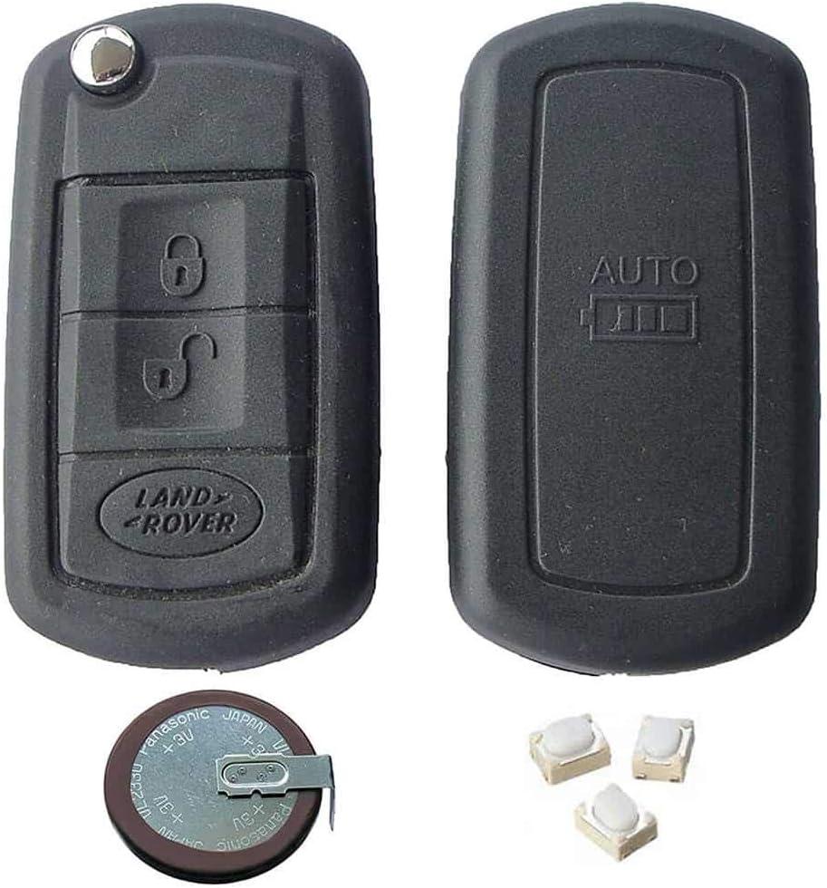 Rkfuk Autoschlüssel Reparaturset Für Land Rover Oder Range Rover Ersatzgehäuse Für Fernbedienungen Mit 3 Tasten Schlüsselrohling Vl2330 Batterie Und Micro Schalter Auto