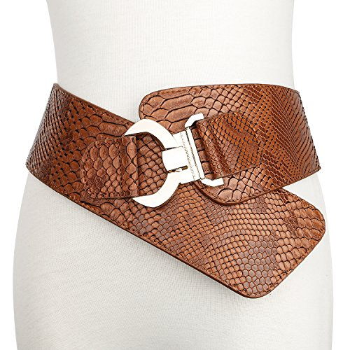 JasGood Women's Fashion Snake Pattern Wide Elastic Stretch Adjustable Waist Cinch Belt Waistband  Brown  Suit Waist 29-32 Inch - Leather Cinch Belt
