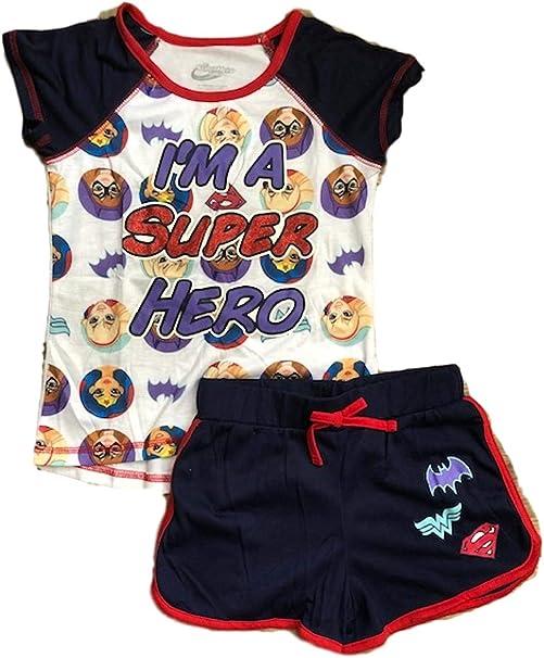 Navy Superhero Big Girls 2PC Pajama Top /& Short Set Sleepwear Batgirl Supergirl /& Wonder Woman