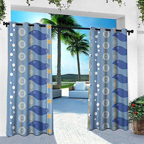 Hengshu Yellow and Blue, Outdoor Privacy Curtain for Pergola,Abstract Sea Pattern with Spiral Circles Waves Lines Illustration, W84 x L96 Inch, Light Blue Marigold