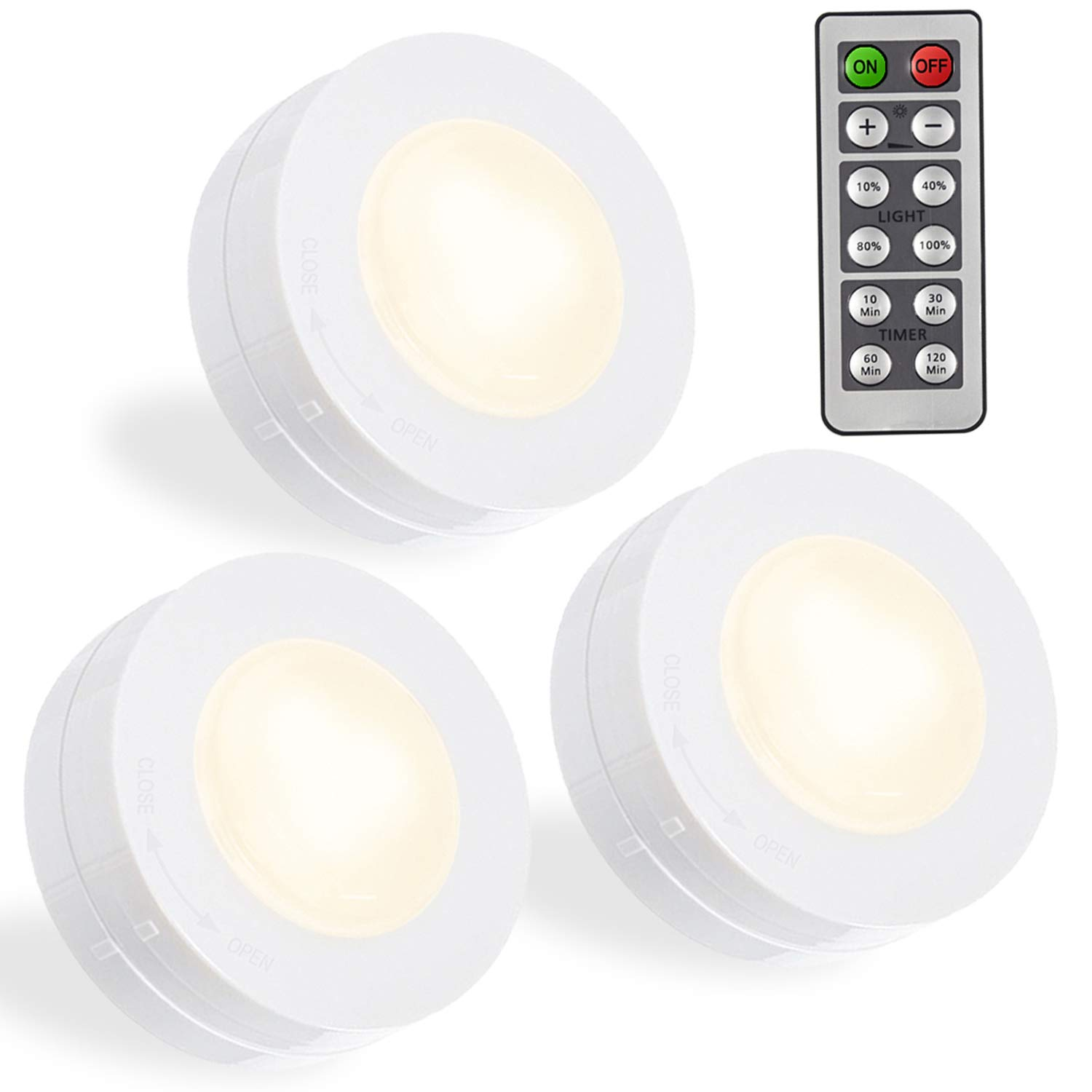SALKING LED Puck Lights, Wireless LED Under Cabinet Lighting with Remote, Closet Light Battery Operated, Dimmable Under Counter Lights for Kitchen, Natural White-3 Pack by Salking (Image #1)