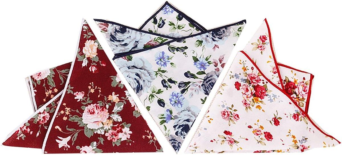 BonjourMrsMr Mens Business Suit Casual Floral Cotton Pocket Square Handkerchiefs Set