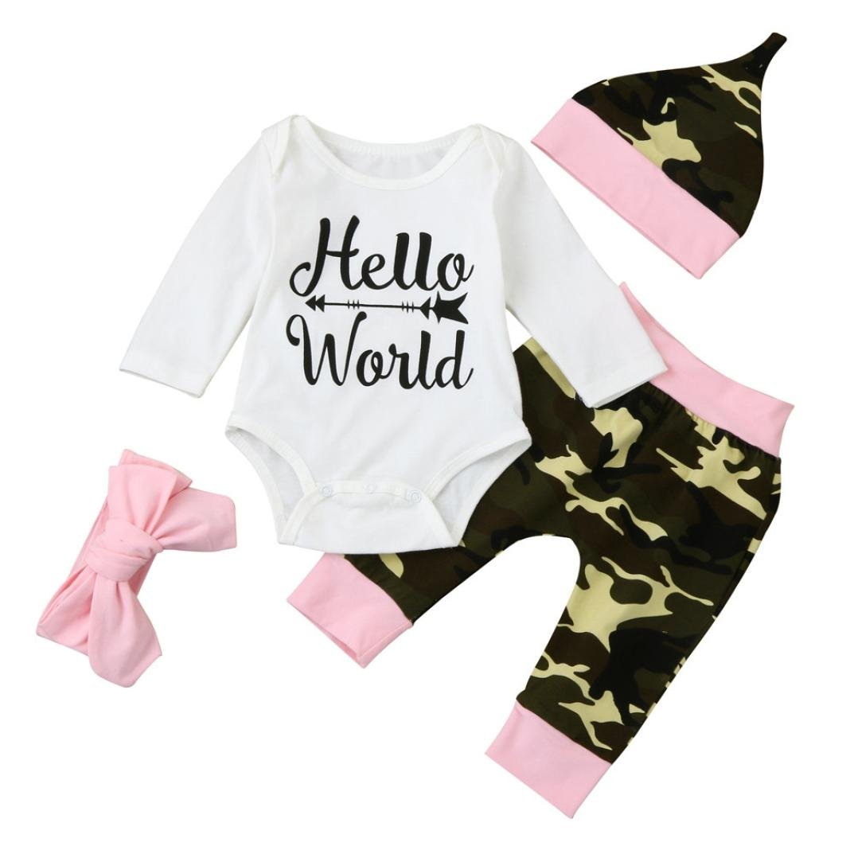 feiXIANG 4PCS Tops + Pantaloni + cappello + fascia Neonato neonato lettera ragazza Romper cime + pantaloni floreali cappello abiti set