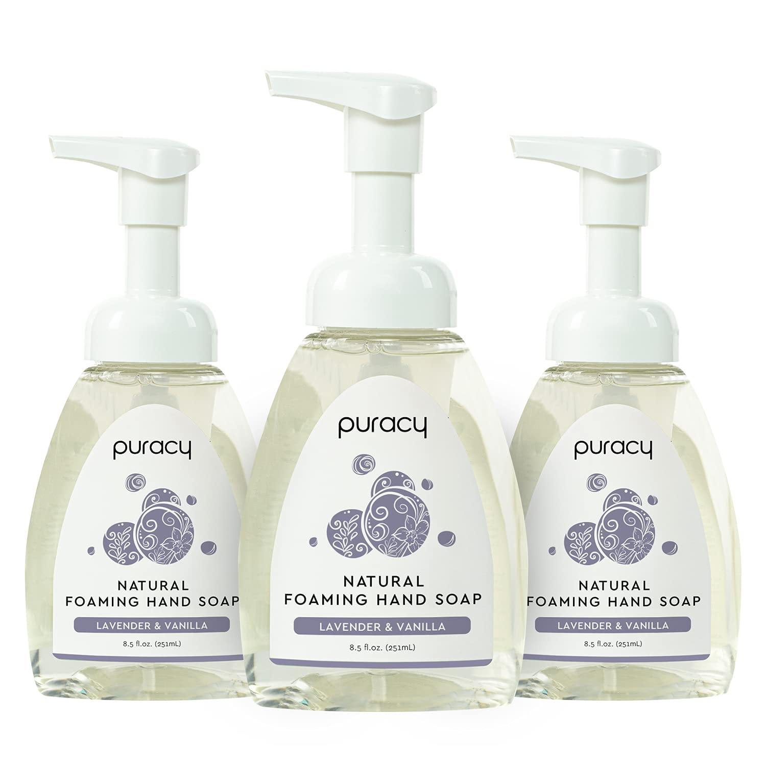 Puracy Natural Foaming Hand Soap, Moisturizing Hand Wash, Lavender & Vanilla, 8.5 Ounce (Pack of 3)