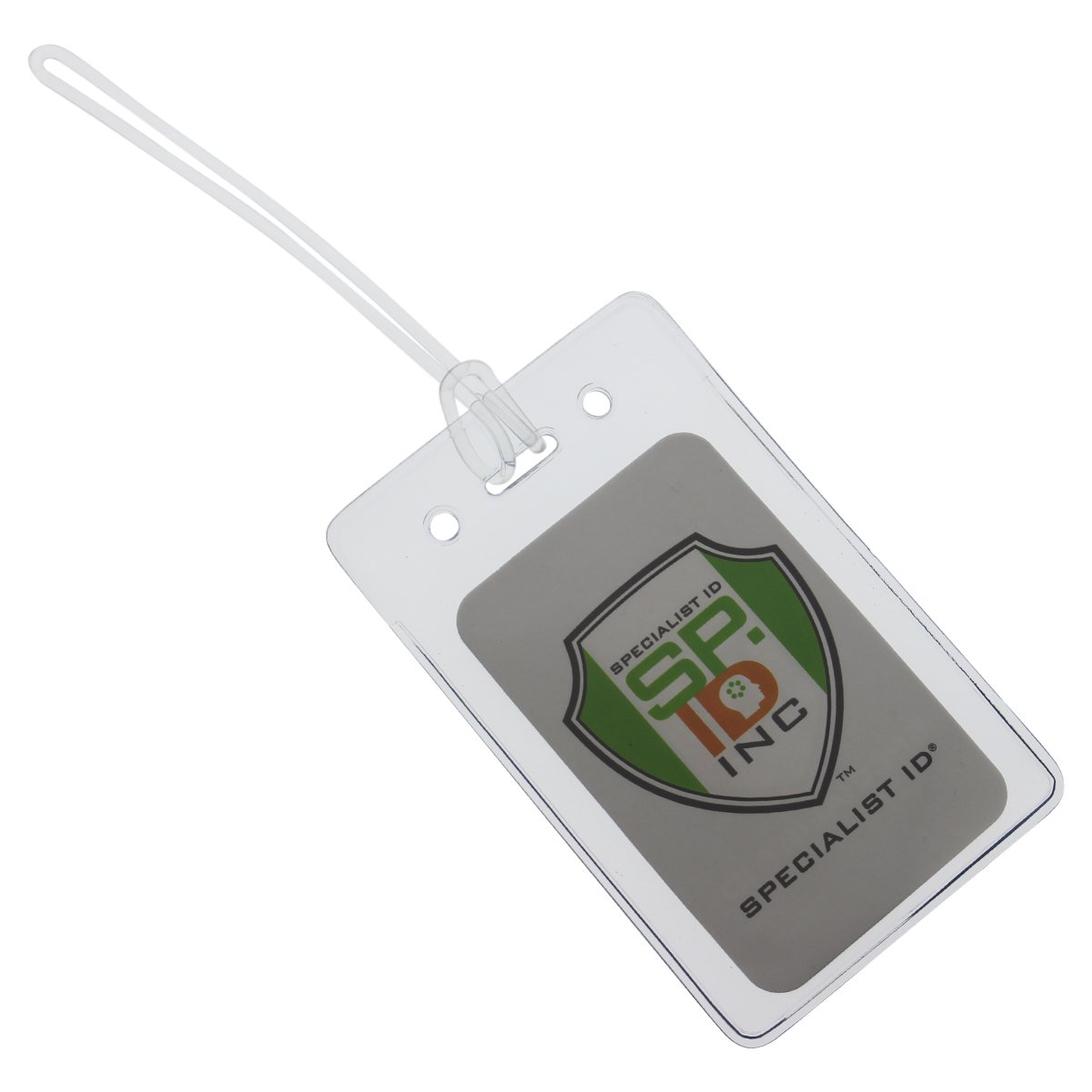 100 Pack - LOCKING TOP - Clear Plastic Luggage Identification Tags with Loops Included - Business Card or Photo Insert Bag Tags - Great for Travel and Student ID's by Specialist ID