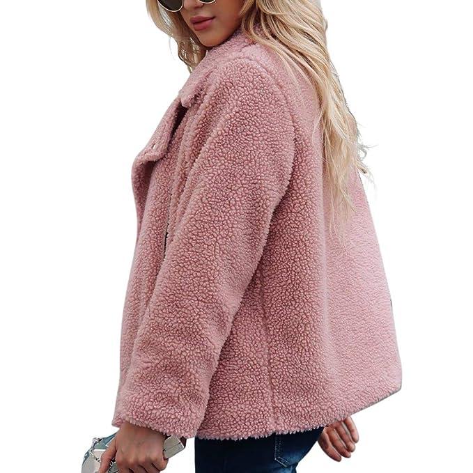 Amazon.com: AOJIAN Women Jacket Long Sleeve Outwear Fleece Zipper Pocket Pure Color Turn Down Notch Collar Coat: Clothing