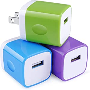 USB Charger Plug,3-Pack 5V/1A Single Port Wall Charging Block Power Adapter Brick Cubes Box Compatible iPhone 11 pro XS Max XR X 8 7 6 6s,Samsung Galaxy S20 S20+ S10e A20 A50,Google,Moto,Oneplus