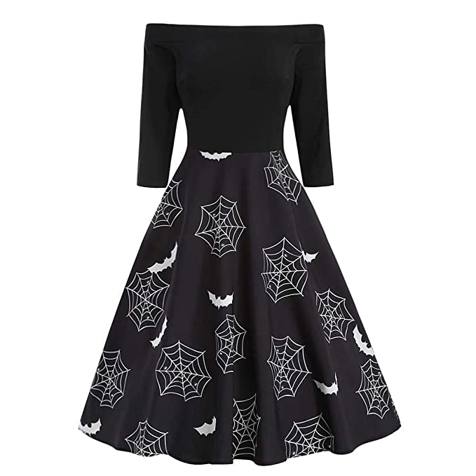 Amazon.com: Clearance Sale! Hurrybuy Fashion Women Halloween Spider Web Off Shoulder Print Gown Evening Party: Clothing