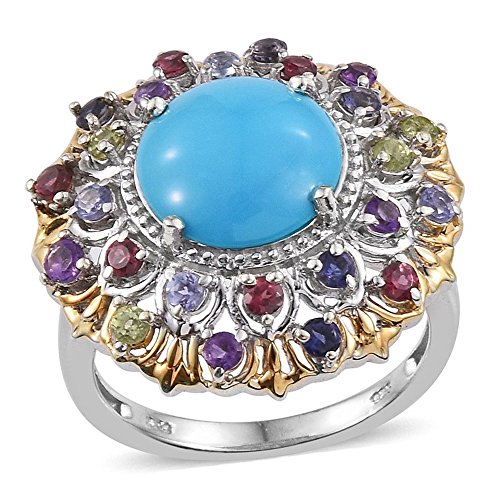 Sleeping Beauty Turquoise Multi Gemstone 14K YG and Platinum Plated Sterling Silver Ring Size 8 (Yg 14k Multi Gemstone)