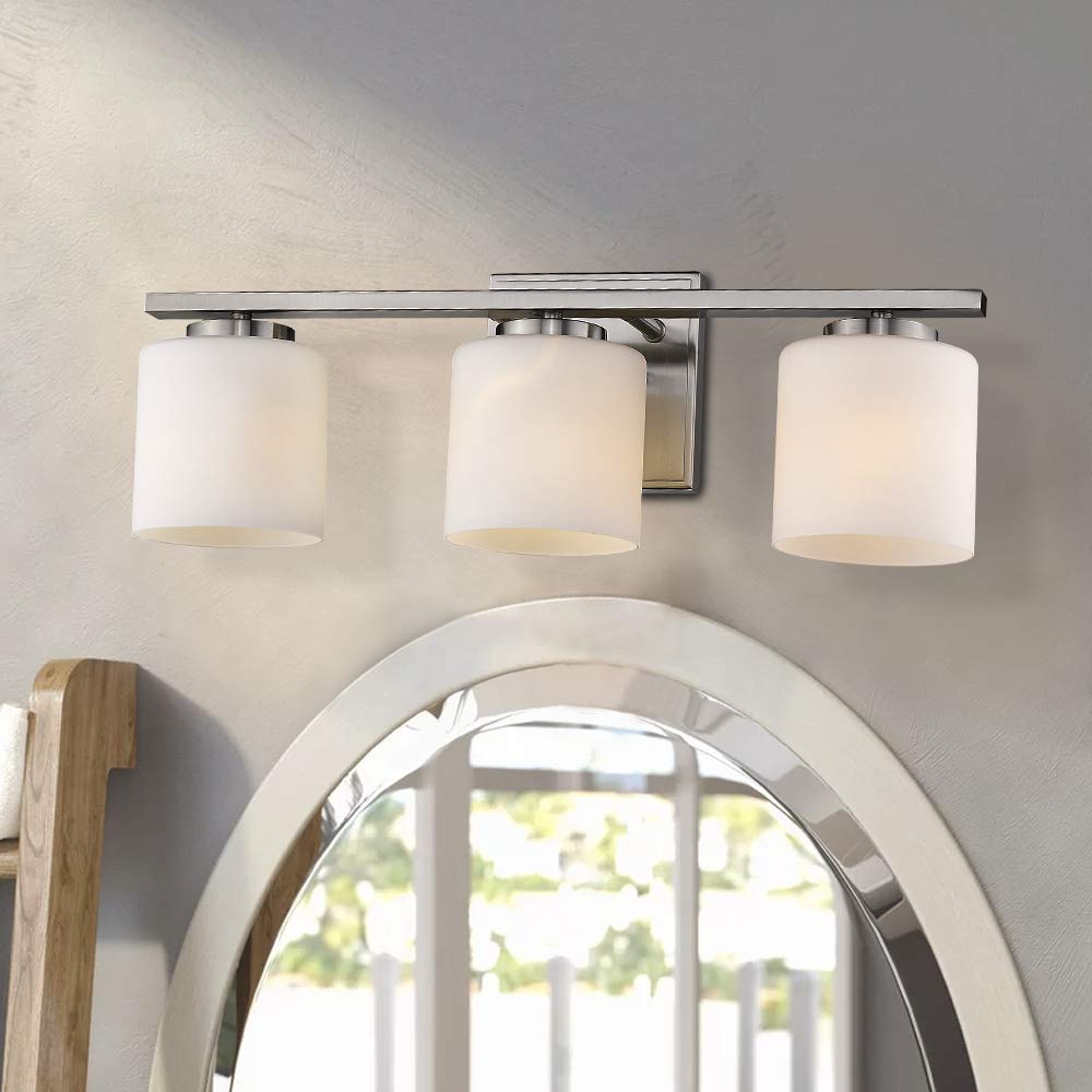 Emliviar 3-Light Bathroom Vanity Light Fixture, Brushed Nickel Finish with White Frosted Glass Shade, 21002-3B by EMLIVIAR (Image #3)