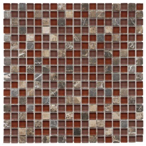 [Sierra Mini Bordeaux 11 3/4 x 11 3/4 Inch Glass and Stone Mosaic Wall Tile (10 Pcs/9.6 Sq. Ft. Per Case, $1 Standard Shipping)] (Bordeaux Stone Backsplash)