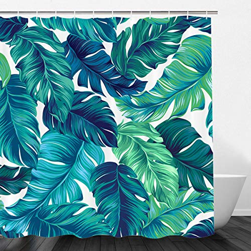 VIMMUCIR Tropical Shower Curtains, Tropical Palm Leaves Hawaii Jungle Bath Curtains, Waterproof Polyester Fabric Bathroom Decor with Hooks Set, Turquoise and Green (72