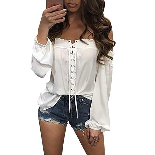 90cf73f134d6c F topbu Women Shirts Teen Girls Off Shoulder Criss Cross Bandage Long  Sleeve Blouse Casual Pullover Tops