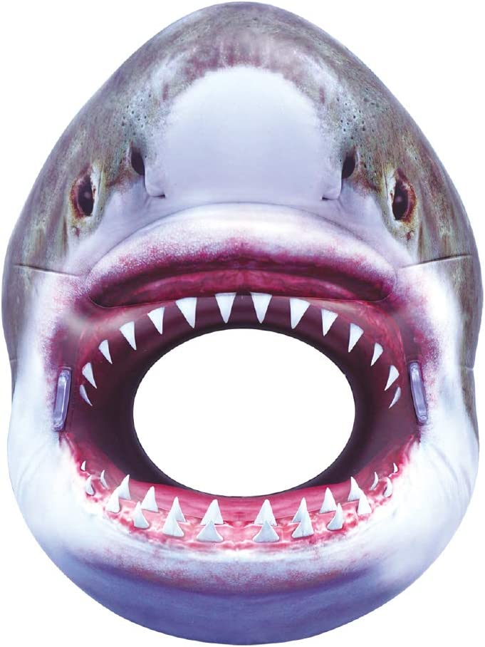 "Inflatable Shark Pool Tube Toy for Kids & Adults. Funny, 54"" Realistic Pool Party Floatie. Greet Friends This Summer from Inside a Shark's Terrifying Jaws. Grab Handles for Stability & Safety."