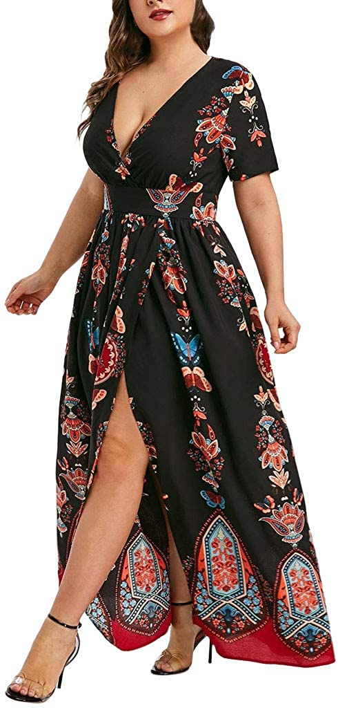 Topassion Fashion Women Butterfly Dress Casual Printed V-Neck Short Sleeve Long Dress Maxi Dress Loose Dresses with Front Split Out Loose Cocktail Party Beach Long Bohemian Dress