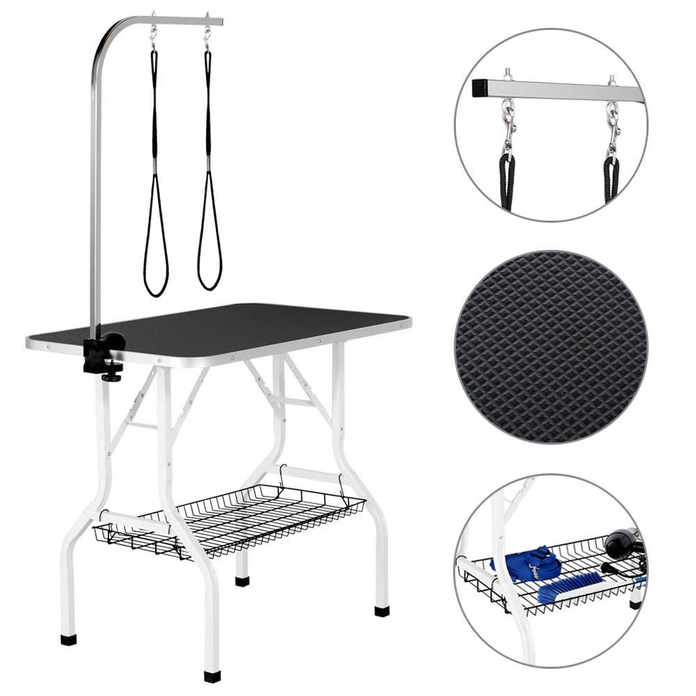 Yaheetech Pet Dog/Cat Grooming Table Foldable Height Adjustable - 36-inch Drying Table w/Double Loops/Mesh Tray Maximum Capacity Up to 220lbs Black by Yaheetech