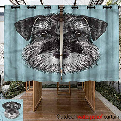 Outdoor Curtains Animal Cute Baby Schnauzer Puppy for Porch&Beach&Patio W 55