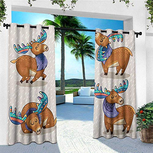 leinuoyi Moose, Outdoor Curtain Panels Set of 2, Kids Cartoon Inspired Cute Elks with Antlers Friendly Nursery Kids Theme Artwork, for Patio Waterproof W96 x L96 Inch Multicolor
