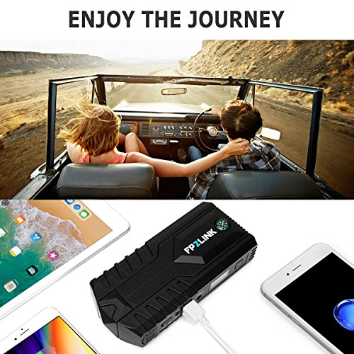 Car Jump Starter with Lithium Battery Booster for 12V Vehicle,Up to 8.4L Gas, 5.5L Diesel Engine,Built-in Safety Hammer,Red Blue Ultra-Bright LED Flashlight and 12000mAh Power Bank by FP2LINK by FP2LINK (Image #6)