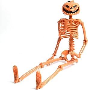 Halloween Skeleton-Halloween Pumpkin Head Skeleton Full Body Skeleton for Halloween Skull Decor Halloween Party (16'')