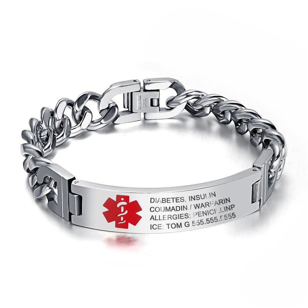 Lam Hub Fong 8.5 Inches Free Engrave Emergency Medical Bracelets for Men Women Alert ID Bracelets For Adults Titanium Steel Medical Alert Bracelets For Men