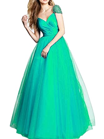 Dydsz Womens Beaded Long Evening Prom Dresses Formal Gown Plus Size V Neck D239 Aqua 2