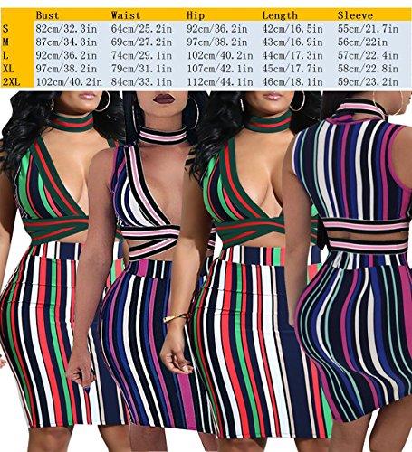 Girocollo A Di Top Gonna Donne Bodycon La Set Delle Due Sexy V Club Cami Vestito Pezzi Fasciatura Midi Raccolto Collo Verde Abiti Del E Strisce Bluewolfsea wzXPx